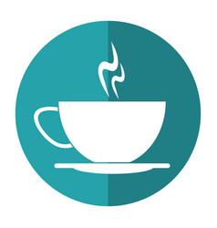 cup of coffee smoke hot shadow vector image