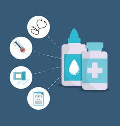 Bottle medicine healthcare items vector