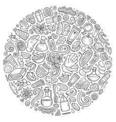 set of massage salon doodle objects vector image