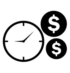 time is money icon clock and coins symbol vector image