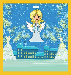 Abstract christmas card with angel vector