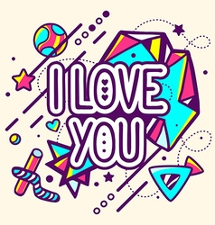 Colorful i love you quote on abstract bac vector