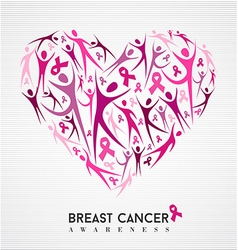 Breast cancer awareness pink ribbon women heart vector