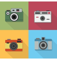 Retro camera icons set with long shadow vector