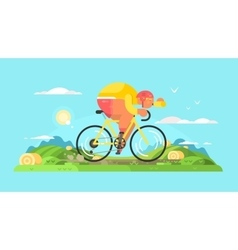 Cyclist sportsman on bike vector