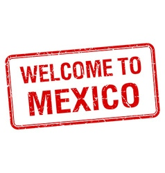 Welcome to mexico red grunge square stamp vector