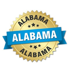 Alabama round golden badge with blue ribbon vector
