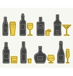 Bottles and glasses line icons vector
