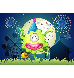 A happy one-eyed monster at the carnival with a vector