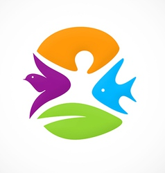 abstract people nature ecology animal logo vector image vector image