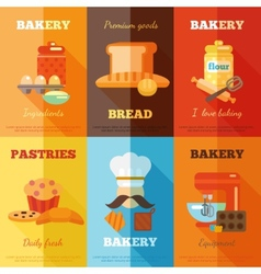 Bakery mini poster set vector image