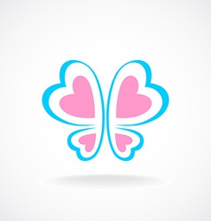 Butterfly logo template Soft colors Heart-shaped vector image vector image