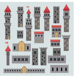 Castle structure parts in colorful silhouette vector