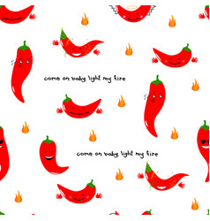 chili emoji seamless pattern with handwritten vector image vector image