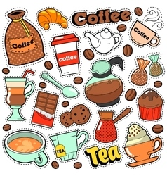 Coffee and tea badges patches stickers vector