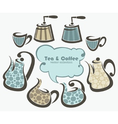coffee and tea collection vector image vector image