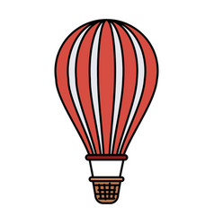 colorful silhouette of hot air balloon vector image