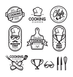 Cooking classes labels set vintage vector