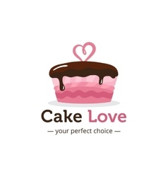 Cute shiny pink cake logo with chocolate vector