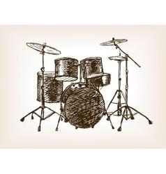 Drum set sketch style vector
