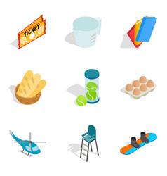 Elite hobby icons set isometric style vector