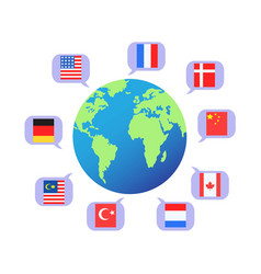 flag speech bubbles around the world vector image