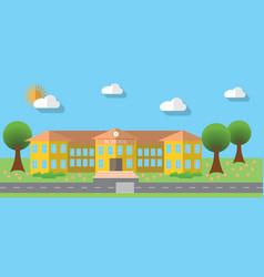 Flat design of school building in flat design vector image
