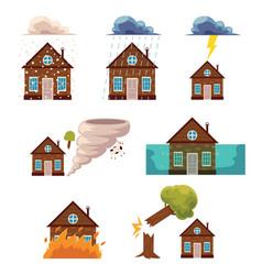 flat house insurance concepts set vector image