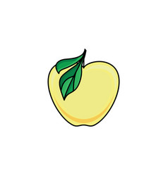 Flat sketch style yellow fresh ripe apple vector