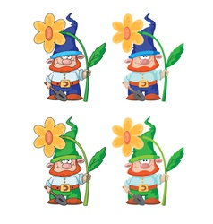 Gnome and flower vector