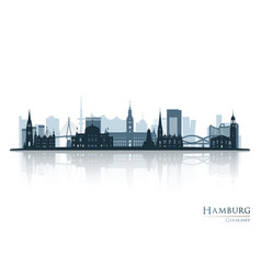 hamburg skyline silhouette with reflection vector image