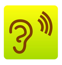 Human ear sign brown icon at green-yellow vector