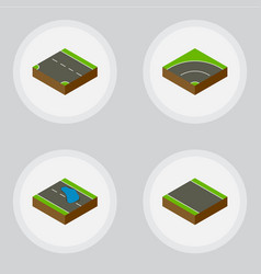 Isometric road set of plash without strip vector