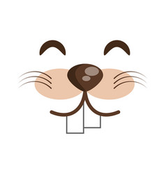 Kawaii face beaver animal expression icon vector