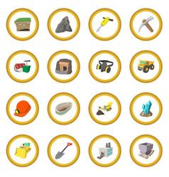mining icon circle vector image vector image