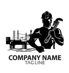 Oil Rig Company Logo vector image