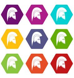 roman helmet icon set color hexahedron vector image vector image