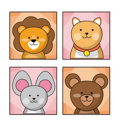 Set cute baby animal nature life vector