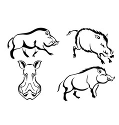 Set of black images of wild boars abstract vector