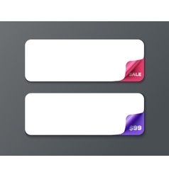 Set of horizontal banner template with curl vector image vector image