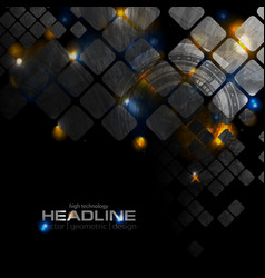 Shiny glowing technology background with squares vector