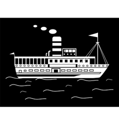 Silhouette little retro ship vector