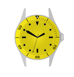 Simple modern sport divers style yellow watch case vector