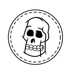 Skull And White Circle Patch vector image