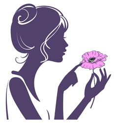 Young girl with a pink poppy flower vector image vector image