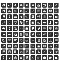 100 business process icons set black vector