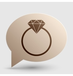 Diamond sign  brown gradient icon on vector