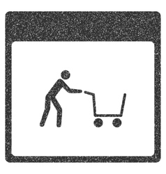Shopping cart calendar page grainy texture icon vector