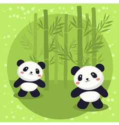 Two little panda bear bamboo vector