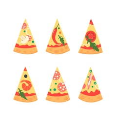 Set of pizza slices with different toppings vector